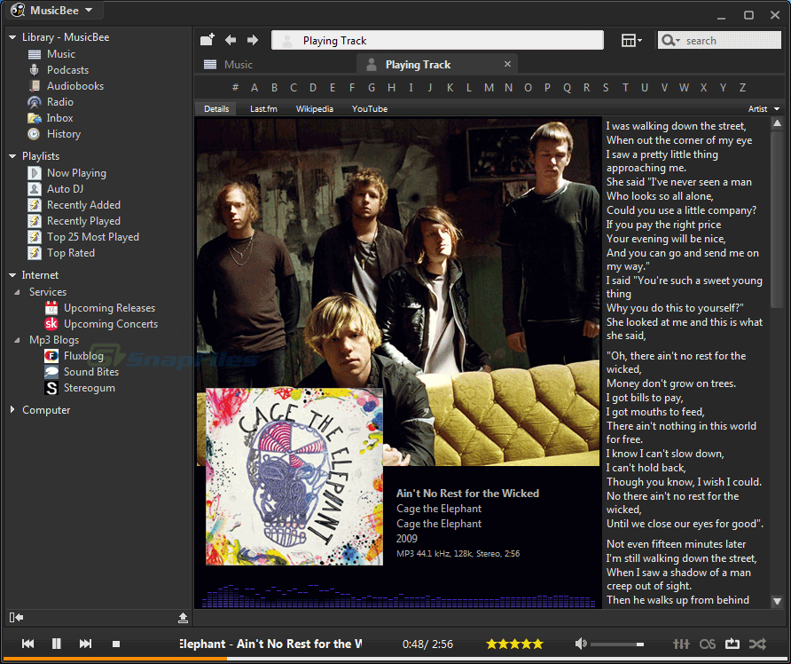 screenshot of MusicBee