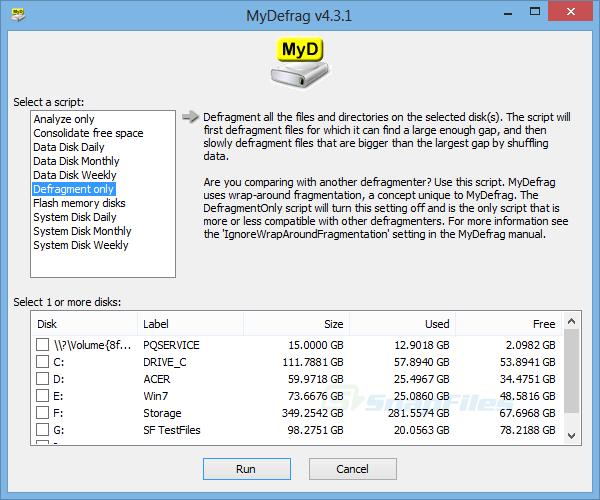 screen capture of MyDefrag