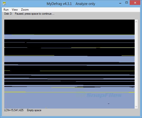 screenshot of MyDefrag