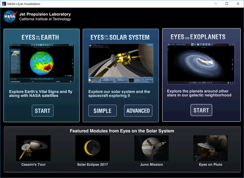 screen capture of Nasa`s Eyes