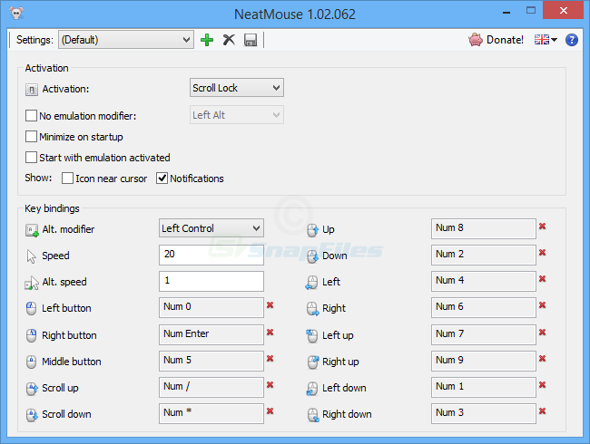 screen capture of NeatMouse