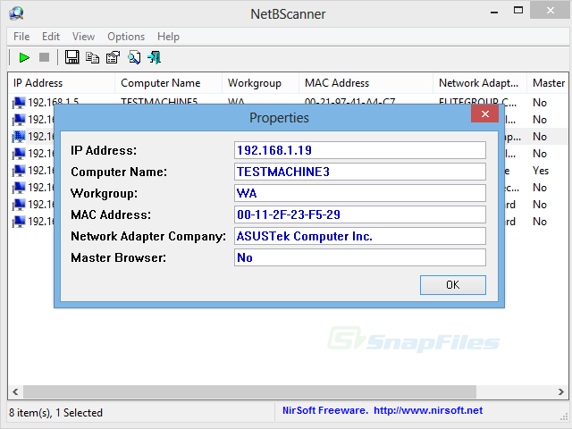 screenshot of NetBScanner