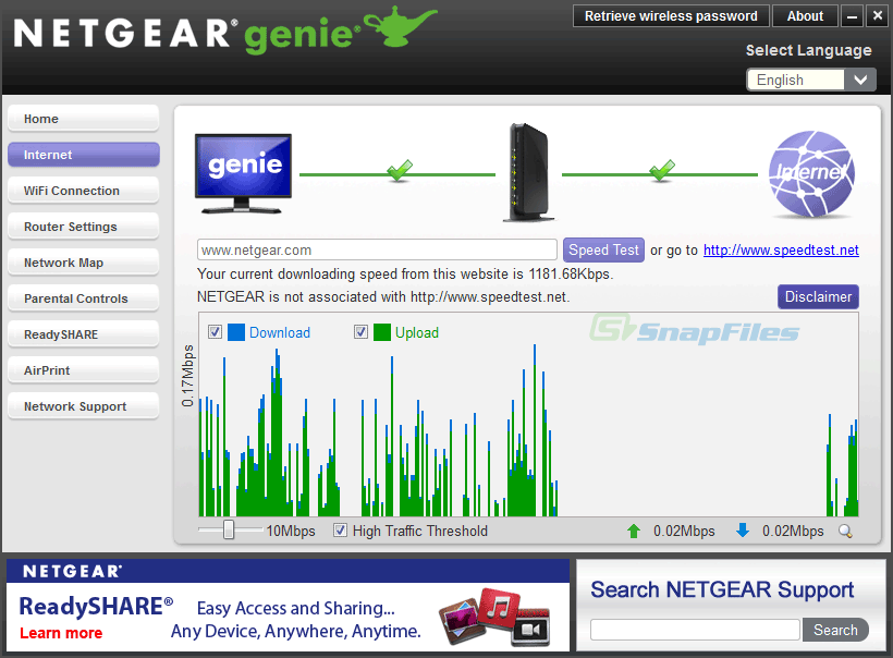 screenshot of Netgear Genie