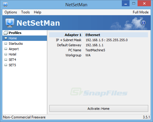 screenshot of NetSetMan