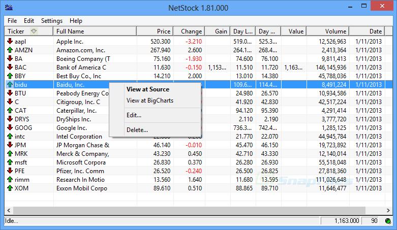 screen capture of Netstock