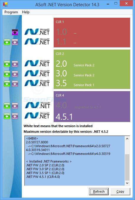 screen capture of .NET Version Detector