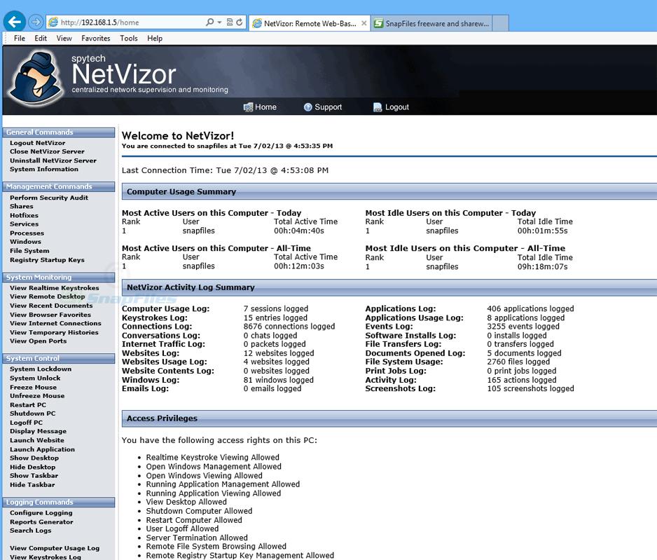screenshot of NetVizor