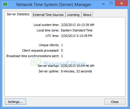 screen capture of Network Time System