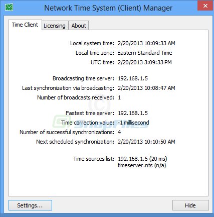 screenshot of Network Time System