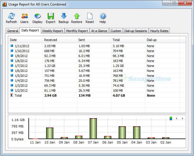 screenshot of NetWorx