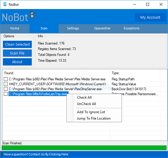 screenshot of NoBot