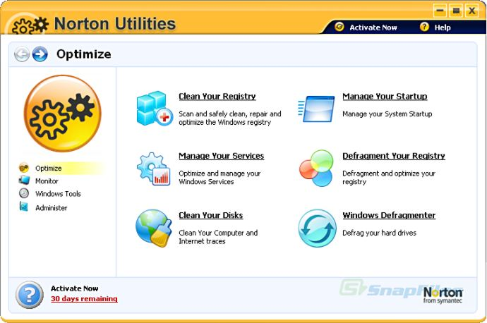 screen capture of Norton Utilities