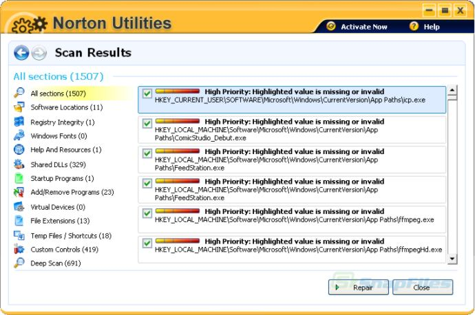 screenshot of Norton Utilities