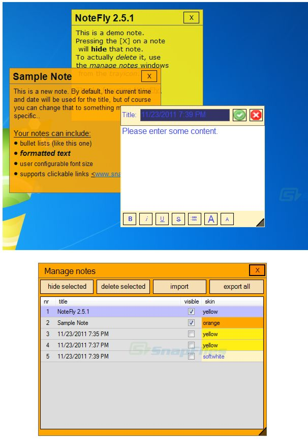 screenshot of NoteFly