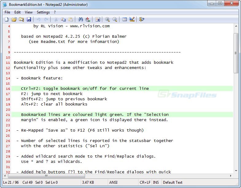 screen capture of Notepad2 Bookmark Edition