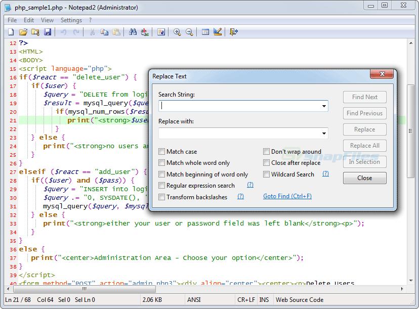 screenshot of Notepad2 Bookmark Edition