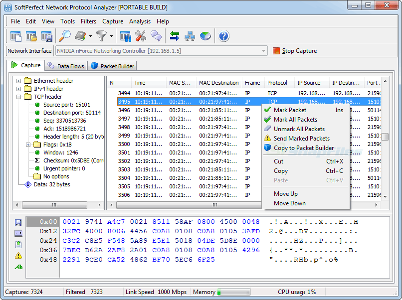 screen capture of SoftPerfect Network Protocol Analyzer