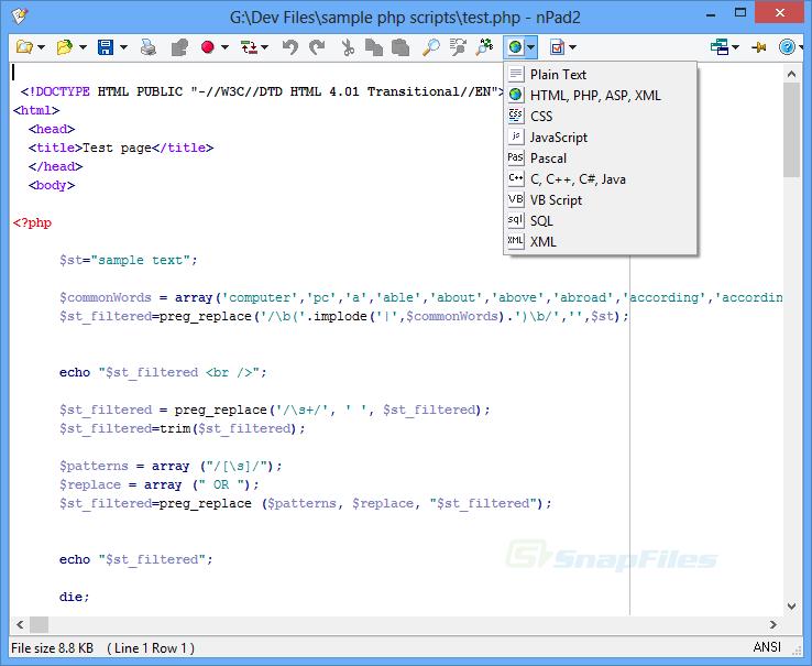 screen capture of nPad2