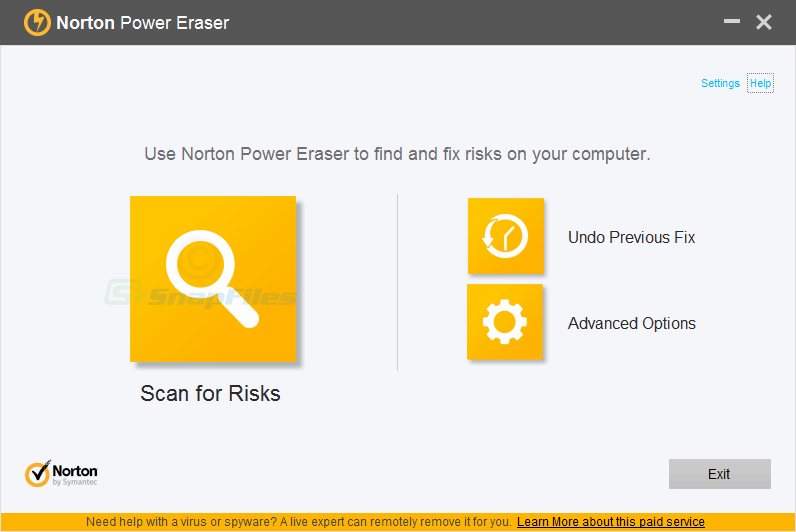 screen capture of Norton Power Eraser