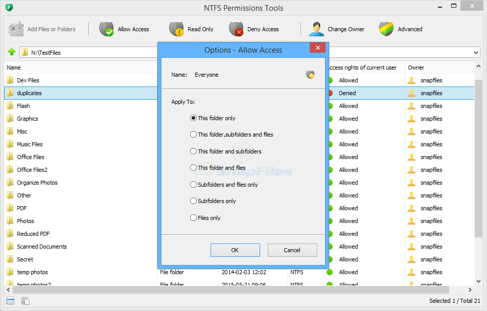 screenshot of NTFS Permissions Tools
