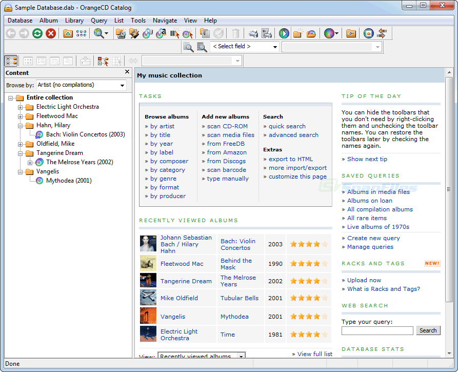 screen capture of OrangeCD Suite