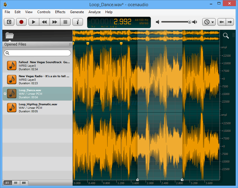 screen capture of Ocenaudio