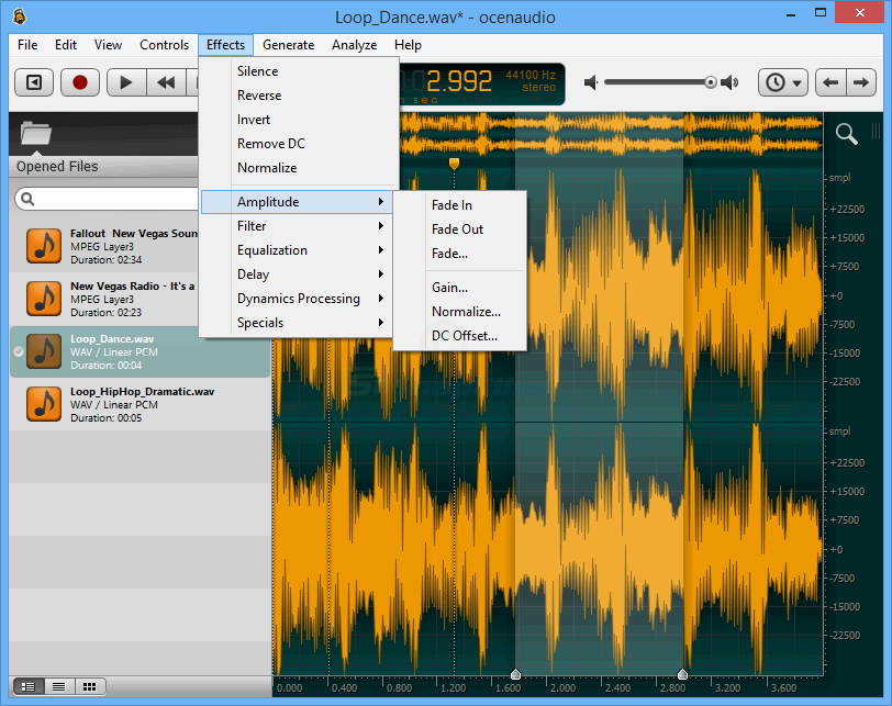screenshot of Ocenaudio