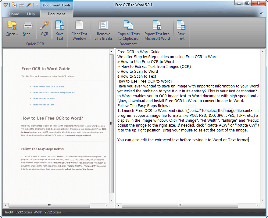 screenshot of Free OCR to Word