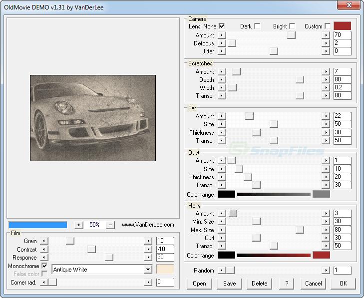 screen capture of OldMovie