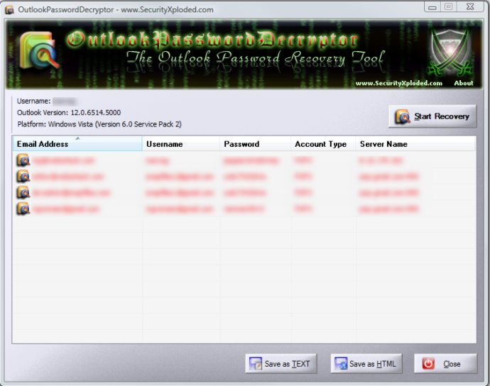 screen capture of OutlookPasswordDecryptor