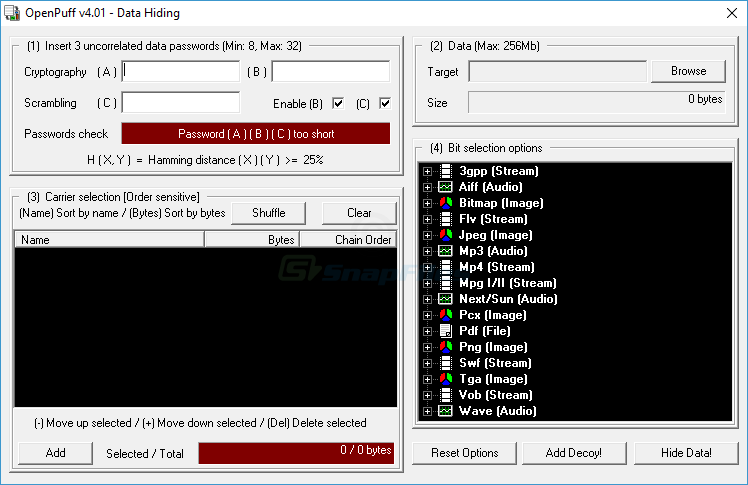screenshot of OpenPuff