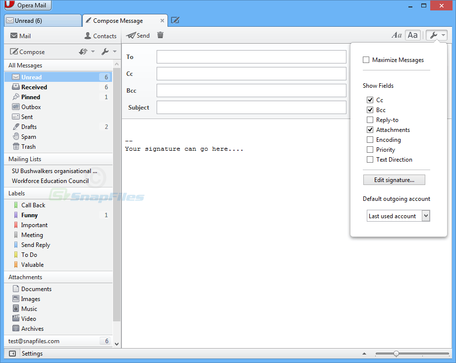 screenshot of Opera Mail