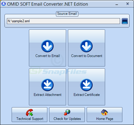 screen capture of OmidSoft Email Converter