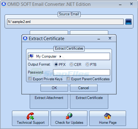 screenshot of OmidSoft Email Converter