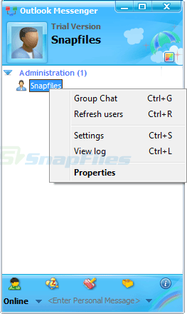 screen capture of Outlook Messenger