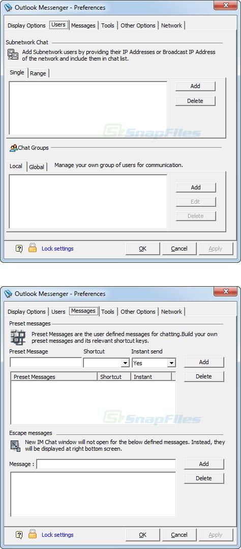 screenshot of Outlook Messenger