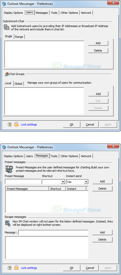Outlook Messenger screenshot and download at SnapFiles com
