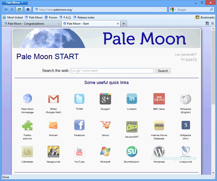 screen capture of Pale Moon