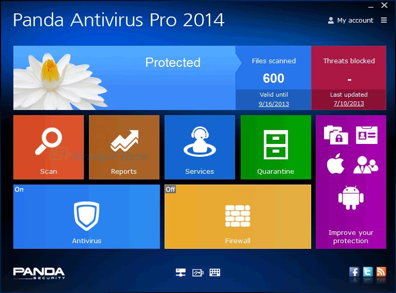screen capture of Panda Antivirus Pro