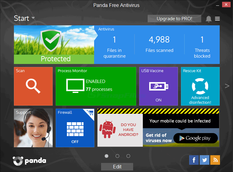 screen capture of Panda Free Antivirus