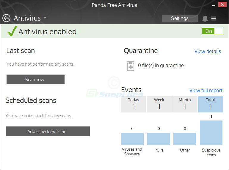 screenshot of Panda Free Antivirus