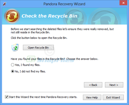 screenshot of Pandora Recovery