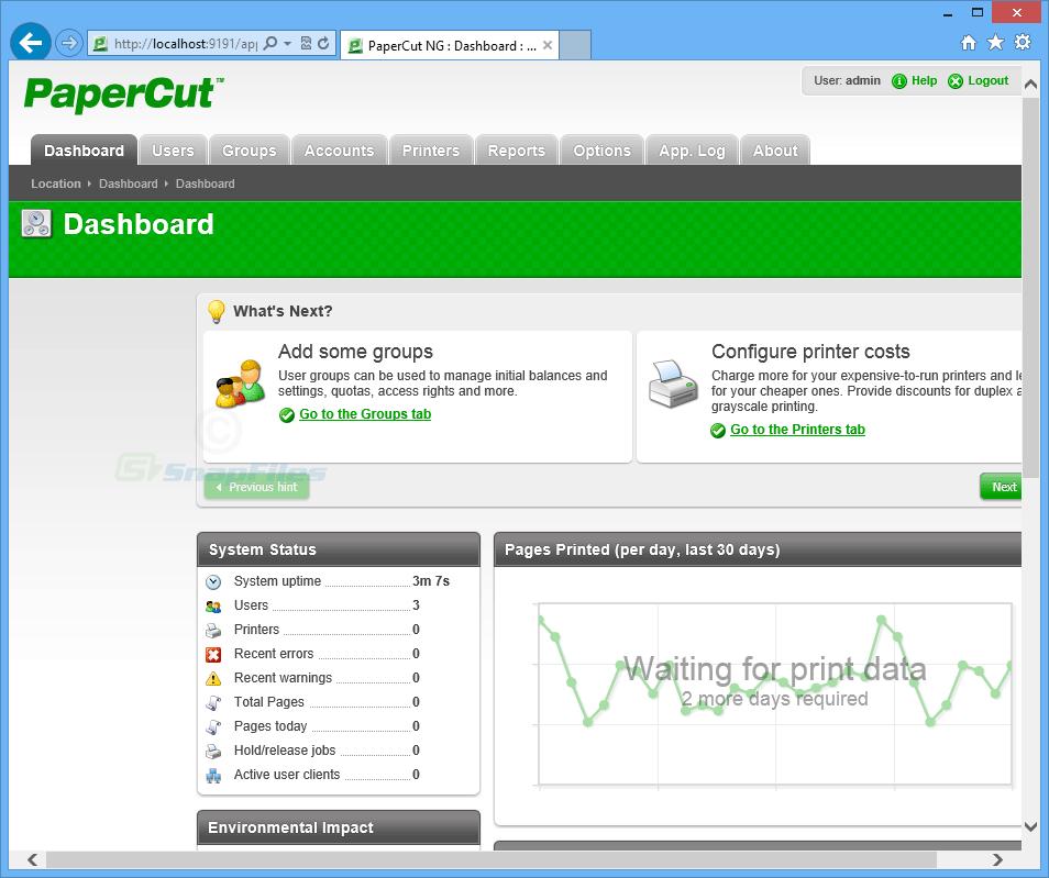 screen capture of PaperCut NG