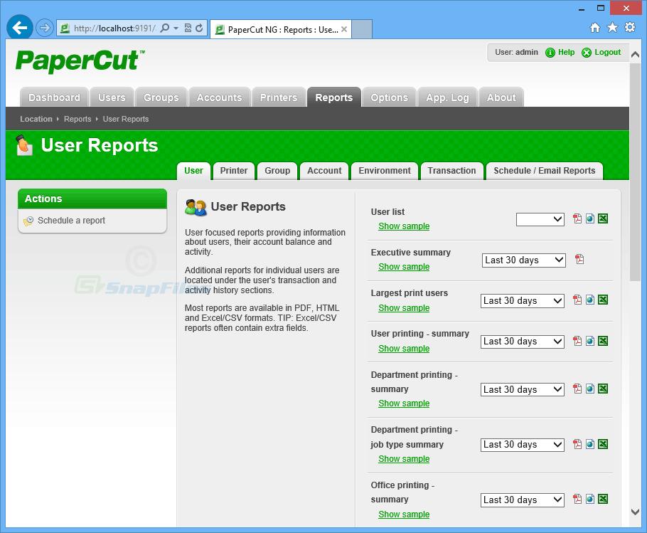 screenshot of PaperCut NG