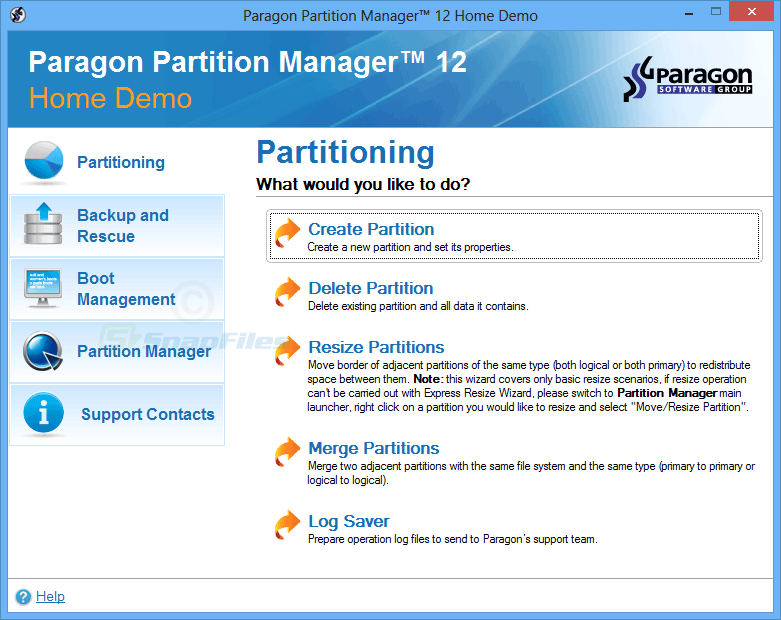screen capture of Paragon Partition Manager