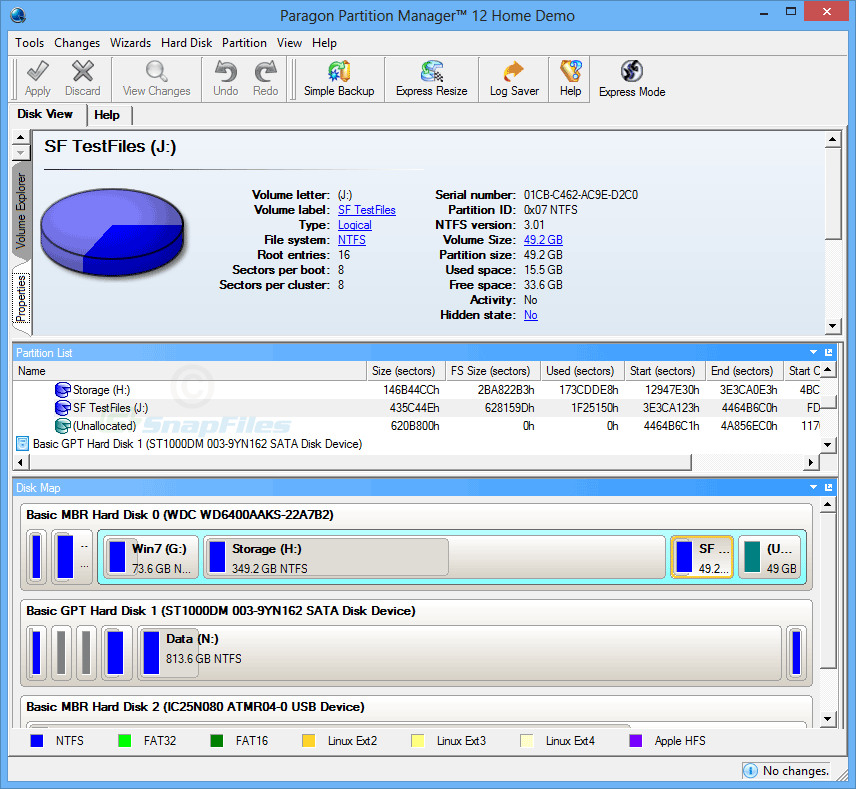 screenshot of Paragon Partition Manager