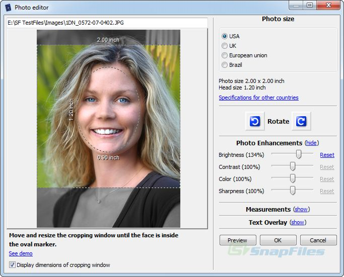 screen capture of Passport Photo
