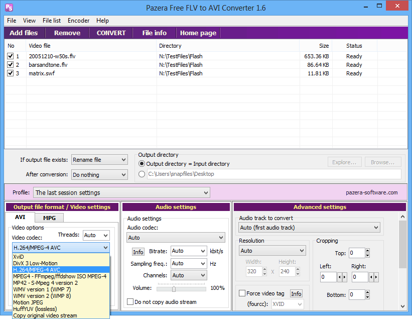 screen capture of Pazera Free FLV to AVI Converter