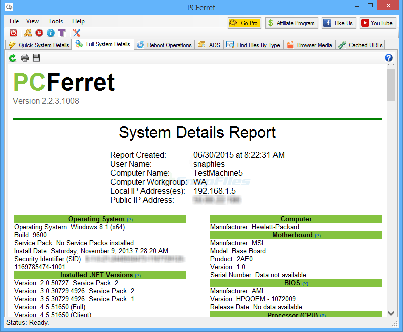 screen capture of PCFerret