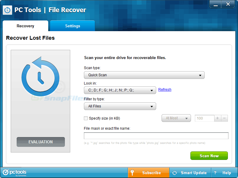 screen capture of Pc Tools File Recover